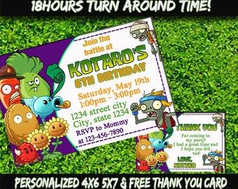 Zombie Invitation - Zombies Disney - Zombie Birthday Invitation - Zombie Party - Zombie Printable - Free Thank You Card