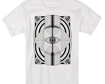 Men's GEOEYE Tribal Psychedelic Tee Sacred Geometry Vesica Piscis Hand Screen Printed Shirt