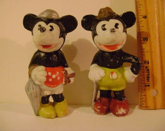 Vintage 1930s Bisque Mickey and Minnie