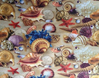 Seashells on Sandy Beach Fabric Nautical Seaside Shells Landscape Beach House Sea Shell Star Fish Cotton Quilting Fabric By the Yard HY t3/7