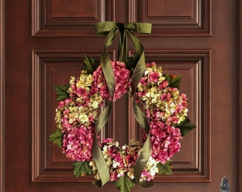 Hand Blended Hydrangea Wreath |  Front Door Wreaths | Wreaths | Spring Wreath | Mothers Day Wreath