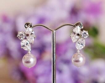 Lavender Purple Pearl Earrings Lavender Wedding Bridesmaid Gift Earrings Swarovski Pearl Bridal Earrings Lavender Purple Wedding Jewelry