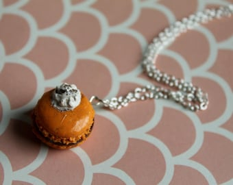 Pumpkin Spice Pie with a Dollop of whipped Cream Macaroon Necklace/ Polymer Clay Fake Food/Thanksgiving Necklace/ Fall Necklace