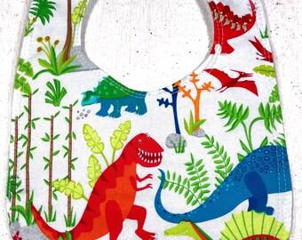 Colorful Dinosaur Baby Bib - Infant bib - dribble bib - science - dinosaur bib  - baby shower gift - baby boy bib