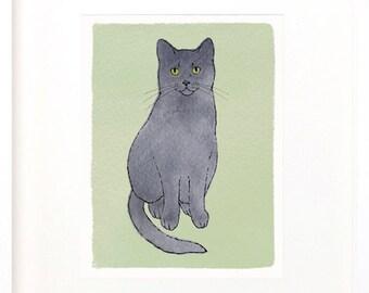 grey cat print, gray cat print, gray cat digital illustration, downloadable gray cat, illustration of gray cat, gray cat painting, cat JPEG