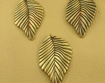 Large brass leaf focal pendant