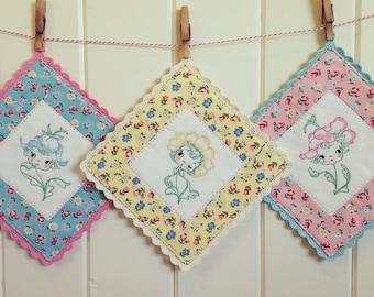 recreate a sweet flower girl embroidered pot holder