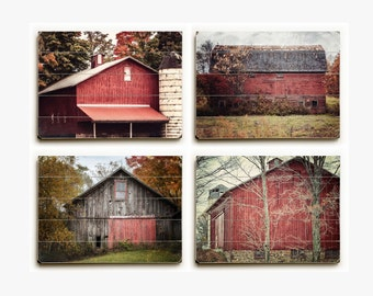 Rustic Red Barn Wood Plank Sign Set: Red Country Landscape Barn Set of 4 Wood Planks, Red Farmhouse Decor on Wood Pallets, Barn Art Set.