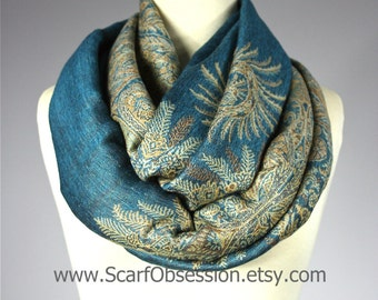 Teal scarf, pashmina, infinity