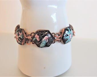 Vintage 1970s Boho Link Bracelet | Painted Blue Red on Black Bracelet |  Bohemian Link Bracelet | Gift Jewelry Jewellery