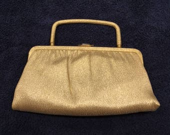 Vintage Gold Lame Handbag or Clutch