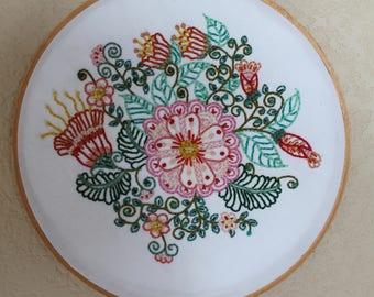 Flowery Embroidered Hoop Art