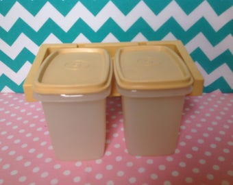 NOS New Tupperware containers, almond lids, square containers, wall mounted, glamping storage, new old stock