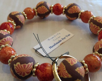 Handmade For You Hands-Free Bracelet KeyChain Keyring Brown Orange Floral Polymer Clay Beads Gold Stretch Cord Fit Many Size Unique K345