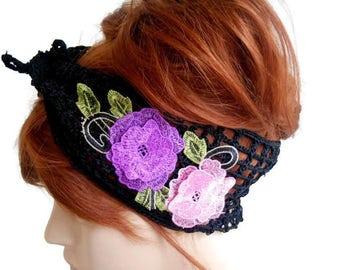 Black Lace Headband, Crochet Hair band, Knit Hair band, Crochet head band, Flower Hair band, summer headband, crochet band, crochet turban