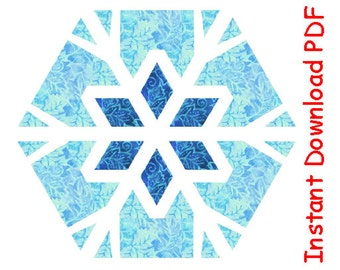 Snowflake 2 paper pieced quilt hexagon pattern winter theme INSTANT DOWNLOAD PDF