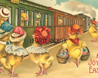 Easter Vintage Easter Postcards Download Printable Art Image Chicks on Train 300 DPI