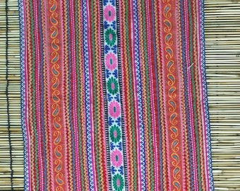 """Vintage Hmong Fabric - Vintage Cross-Stitch Fabric - Hand Embroidered - Hmong Hill Tribe - Tribal Fabric - Asian Fabric 25"""" x 11"""""""