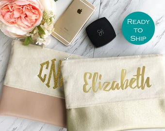 Bridesmaid Makeup Bag - Gold Bridesmaid Bag - Faux Leather Makeup Bag - Makeup Bag Name - Blush