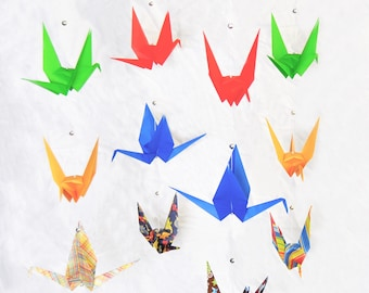 "READY TO SHIP - Origami Crane Hanging Mobile - ""Boy"" themed Cranes - Home Decor - Kids Room Decor"