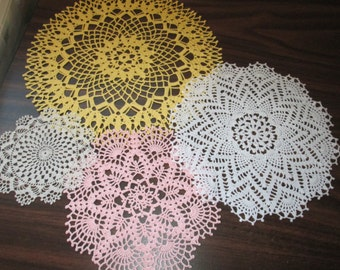4 Doilies in Pink, Buttercup Yellow, White and Off White Hand Crocheted