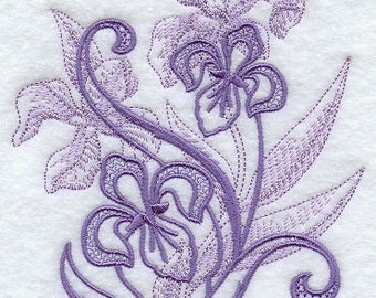 Iris in Blooms Embroidered Flour Sack Hand/Dish Towel
