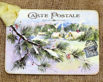 French Snowy Winter Village Christmas Postcard Gift or Scrapbook Tags or Magnet #454