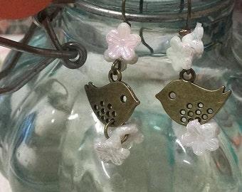 Bronze bird, double Pearly flowers earrings