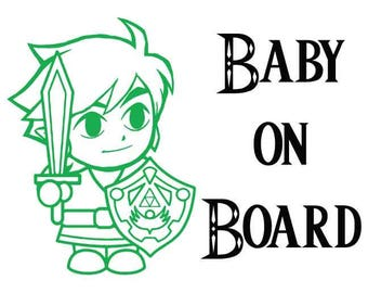 Link From Zelda Baby On Board - Car Decal
