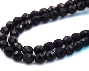 50pc Tanzanite Purple Czech 8mm Fire-polished Faceted Round Beads