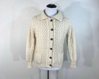 70's vintage wool aran knit sweater cardigan cable fisherman womens