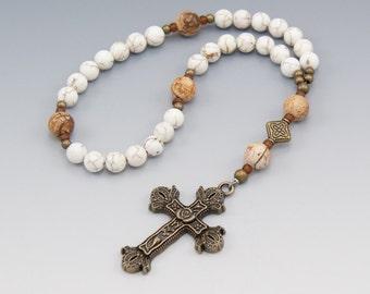 Christian Rosary - Chaplet - White Magnesite with Jasper Gemstone - Pocket Prayer Beads - Item # 719