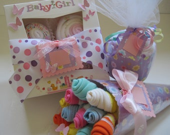 Baby Girl Onesie Cupcake Gift Set with Baby Washcloth Bouquet and Baby Blanket Cupcake