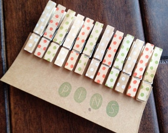 """Mini Clothespins """"Holiday Dots"""" - Set of 12 Handstamped Clothes Pins"""