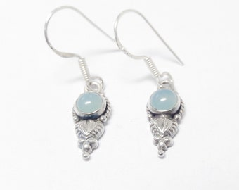 925 Sterling Silver Aquamarine Stone Earrings Handmade Jewelry !! Latest design