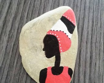 """""""African"""" hand painted Pebble"""