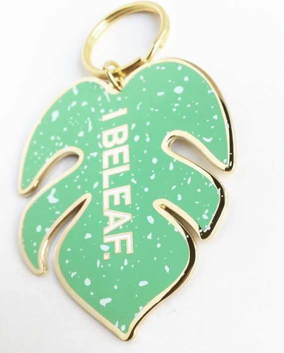 "NEW ** Monstera Leaves ""I Beleaf"" Soft Enamel Keychain"