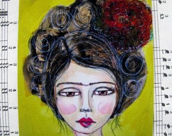Frida - Mini Print, Original Art, Project Life, Planners
