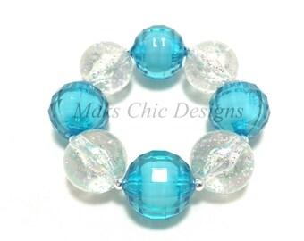 Toddler or Girls Turquoise and Silver Glitter Chunky Bracelet - Blue chunky bracelet - Girls Princess bracelet - Mermaid Chunky Bracelet