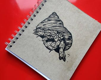 Large Block Print Recycled Blank Book - Hermit Crab