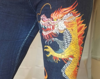 Dragon hand painted jeans