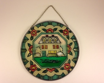 Hand Painted Hanging Glass Art Suncatcher - Welcome