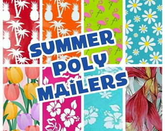 Summer Designer Poly Mailers - 10 x 13 Envelopes -Shipping Envelopes -Adhesive Mailer - Water Resistant - Heavy Duty Mailers - Flat Envelope