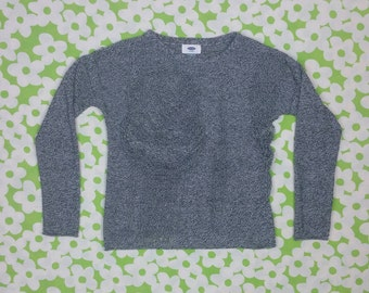 "SALE Shredded Black + White Speckled Long Sleeve Sweater / Top size XS/S (bust: 36"")"