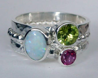Mothers Ring - 3 Birthstone Stacking Rings incl 7x5 mm Opal- October Birthstone - Stackable Rings - Birthstone Rings - Sterling Silver