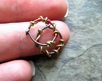 beaded vine hoops-- custom hoop earrings-- primitive series-- handmade by thebeadedlily