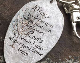 Graduation Gift, Wings to show you what you can become; Roots to remind you where you came from Keychain, Going Away Present, Goodbye Gift