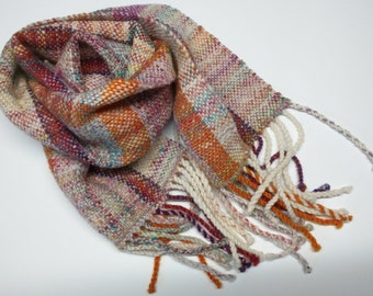 Hand Dyed, Hand Spun, Hand Woven Scarf