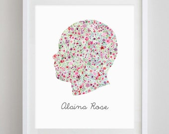 Custom Children's Silhouette Floral Watercolor Print