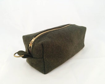 READY TO SHIP: Medium Dopp Kit / Toiletry Bag- Olive Military Blanket